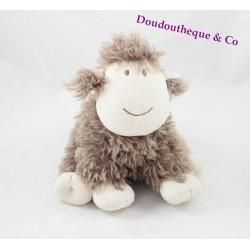 Peluche Frison le mouton Nature et Découvertes marron blanc frisé assis 25 cm