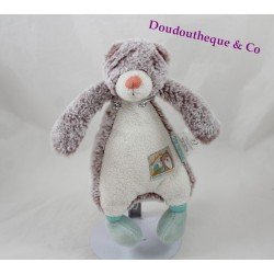 Don Diabolo bear MOULIN ROTY biscuit and white Pompom beige green 24 cm