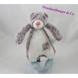 Doudou Diabolo ours MOULIN ROTY Biscotte et Pompon blanc beige vert 24 cm