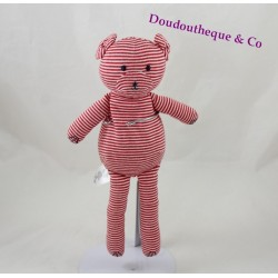 PETIT BATEAU striped red white 28 cm bear blankie