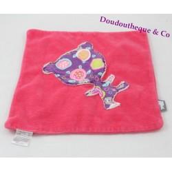 Doudou carré rose ours en tissu imprimé tortue et bulles 23 cm (sans marque)