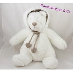 Peluche ours ATMOSPHERA ourson blanc à capuche marron