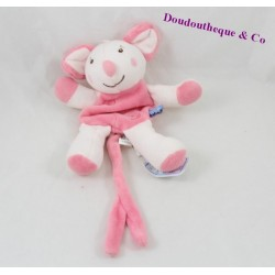 Doudou souris SUCRE D'ORGE attache tétine rose 18 cm