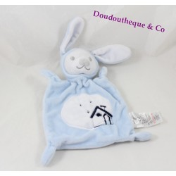 Doudou plat lapin Grain de blé bleu broderie maison rectangle 24 cm