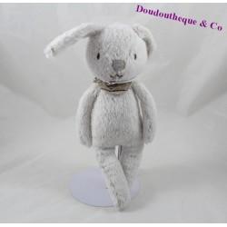 Doudou lapin CYRILLUS gris bandana étoile 28 cm