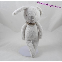 Doudou rabbit CYRILLUS grey bandana star 28 cm