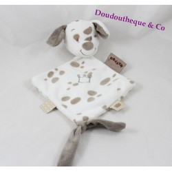 Doudou plat Max chien NATTOU Max, Noa & Tom beige blanc couronne 25 cm