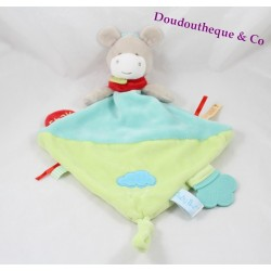 Doudou flat donkey BABY NAT' super doudou blue ring horse teeth 40 cm
