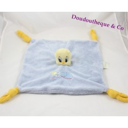 Doudou plat canari jaune Titi LOONEY TUNES bleu jaune 29 cm