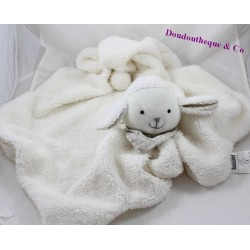 Doudou couverture mouton MAISONS DU MONDE plaid blanc gris 67 cm