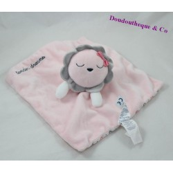 Doudou flat lion OBAÏBI Tender pink gray dreams 24 cm