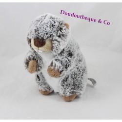 Peluche marmotte CREATIONS DANI chiné gris blanc marron 16 cm
