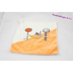 Doudou plat lapin hamac orange beige bouton 27 cm