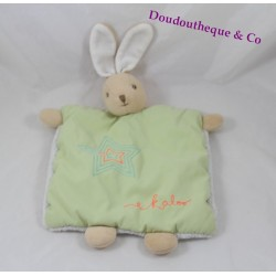 Doudou rabbit flat KALOO Winter Follies Star Green Ribbon
