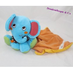 Doudou mouchoir éléphant NICOTOY pois bandana 18 cm