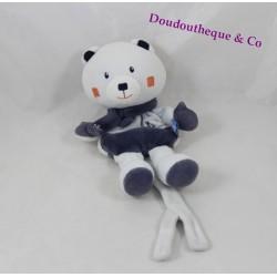 Doudou ours SUCRE D'ORGE bleu écharpe flocon attache tétine 19 cm