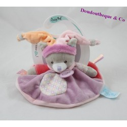 Doudou flat cat BABY NAT Nina and Nino pink circle 22 cm