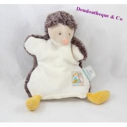 Doudou marionnette hérisson MOULIN ROTY Biscotte et Pompon blanc marron 22 cm
