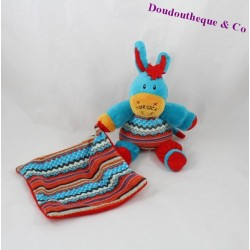 Plush handkerchief donkey CORSICA between sky and sea blue red 22 cm