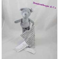 Blankie bear handkerchief CADET ROUSSELLE grey white stripes 24 cm