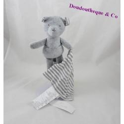 Doudou mouchoir ours CADET ROUSSELLE gris blanc rayures  24 cm