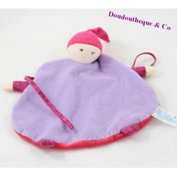 Doudou plat poupon COROLLE violet rose 23 cm