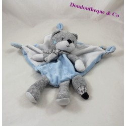 Doudou flat Fox TEX grey scarf blue BABY peas leg 30 cm
