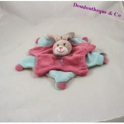 Doudou plat lapin BABY NAT Stello et Stella étoile rose bleu BN626 28 cm