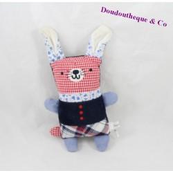 Doudou lapin BOUT'CHOU rouge bleu carreaux 17 cm