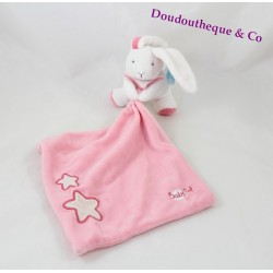 Doudou lapin BABY NAT' mouchoir rose étoiles luminescent brille dans le noir 30 cm