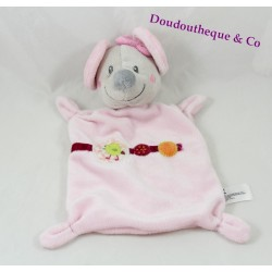 Flat Doudou mouse pink bird NICOTOY green 25 cm