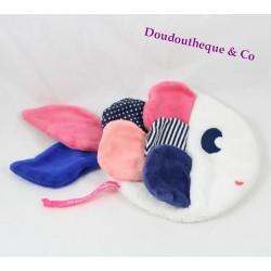 Doudou plat poisson DPAM bleu rose blanc Du Pareil au Même 24 cm