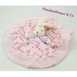 Doudou flat rabbit KALOO Lilirose round Flowery pink 28 cm