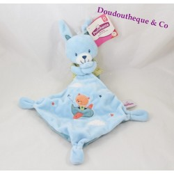 Doudou lapin POMMETTE mouchoir bleu avion et ours orange 36 cm