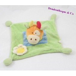 Cow flat Doudou MAXITA green blue flower 21 cm