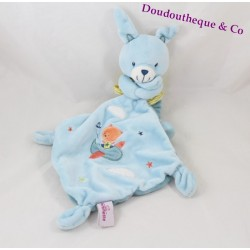 Doudou lapin POMMETTE mouchoir bleu avion ours orange 36 cm