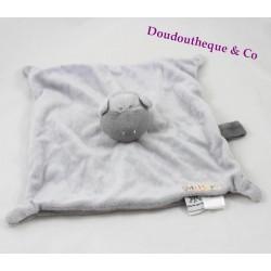Doudou plat Mr Hippo LES CHATOUNETS gris attache tétine 26 cm
