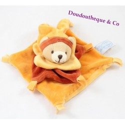 Doudou flat bear BLANKIE and company orange cinnamon square 17 cm