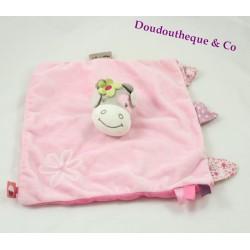 Cow flat Doudou NATTOU Manon & pink flower Alizée 25 cm