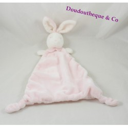 Doudou plat lapin THE LITTLE WHITE COMPANY rose triangle 40 cm