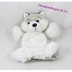 Doudou marionnette husky RODADOU RODA blanc gris poil long 23 cm