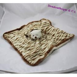 Doudou plat ours BUKOWSKI déguisé en tigre rayures beige marron 33 cm