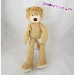 Peluche lion NICOTOY beige poils longs nez marron 38 cm