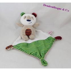 Doudou mouchoir panda POMMETTE rayures 15 cm