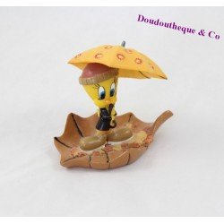 Figurine Titi et Grosminet WARNER BROS Tweety automne statuette en résine parapluie feuille 9 cm