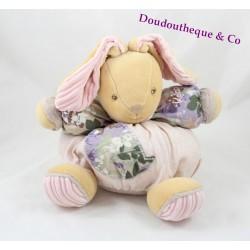 Doudou lapin KALOO Bohème rose kaki motifs fleuris 25 cm