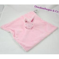 Doudou plat lapin PRIMARK rose fleur brodée Baby Comforter