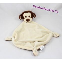 Doudou plat singe BABOU beige marron losange 3 noeuds 40 cm