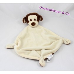 Flat Doudou monkey BABOU beige Brown diamond 3 knots 40 cm