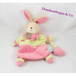 Doudou marionnette lapin BABY NAT' Fiona adore les bisous rose vert